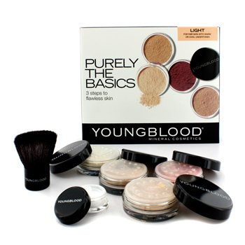 Youngblood Set Purely The Basics - #Light (2xBase Maquillaje, 1x Rubor Mineral 1xPolvos Matizantes, 1 Brocha, 1xPolvos Minerales)  6pcs