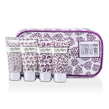 Calming Amethyst Travel Set: Shower Cream + Body Lotion + Hand & Nail Cream + Bubble Bath + Bag  4pcs+1bag