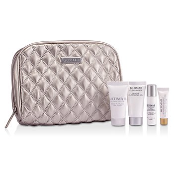 Ultima Set Viaje: Clear White Gel Limp. Suave 15ml + Clear White M�sc. de Arcilla Purificante 15ml + Extraorfinaire Supreme Pure Collagen & Hydrating M�sc. Facial 5ml + Pure Collagen M�sc. Ojos 3ml + Bolso  4pcs+1bag