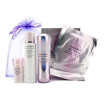 Shiseido White Lucent Set: Brightening Balancing Softener Enriched W 75ml + Intensive Spot Targeting Serum 30ml + Brightening Protective Moisturizer N SPF16 15ml + Intensive Brightening Mask x 2  5pcs