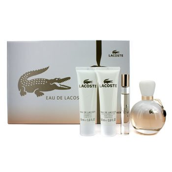 Lacoste Eau De Lacoste Coffret: Edp Spray 90ml/3oz + Edp Roll On 6ml/0.2oz + Loci�n Corporal 50ml/1.6oz + S  4pcs