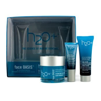 H2O+ Face Oasis Daily Hydration System: Hydrating Treatment 50ml + Exfoliating Cleanser 30ml + Eye Moisture Replenishing Treatment 7ml (For Normal/ Oily Skin)  3pcs