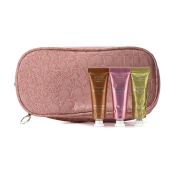 Clarins Set Color de Ojos en Crema Suave (Con Bolsa Cosm�tica Rosa con Doble Cierre) - #03 Sage, #07 Sugar Pink, #08 Burnt Orange  3pcs+1bag