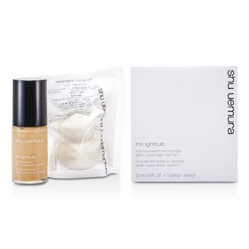 Shu Uemura LightBulb Fluid Foundation & Sponge - # 774 Light Beige  27ml/0.9oz