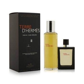 Terre D'Hermes Pure Parfum Refillable Spray 30ml/1oz + Refill 125ml/4.2oz  2pcs