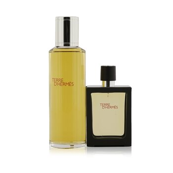 Terre D'Hermes Pure Parfum Refillable Spray 30ml/1oz + Refill 125ml/4.2oz  2pcs