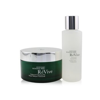 Re Vive Glycolic Renewal Peel Professional System: Cleansing Pad 30pads + Renewal Gel 118ml/4oz  2pcs