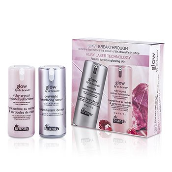Dr. Brandt Regenerujący zestaw na noc Glow By Dr. Brandt Ruby Laser Technology Kit  2x15ml/0.5oz