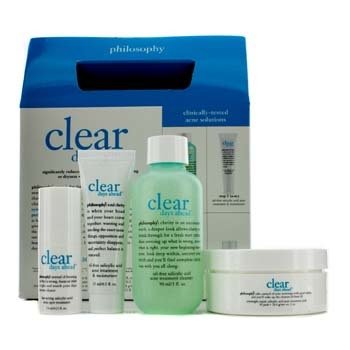 Philosophy Clear Days Ahead Kit: Cleanser 90ml/3oz + Moisturizer 15ml/0.5oz + Treatment Pads 30 pads + Spot Treatment 7ml/0.25oz  4pcs