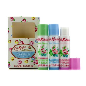 Cath Kidston Wild Flowers Lip Balm Set: Wild Rose 5g + Bluebell 5g + Honeysuckle 5g  3pcs