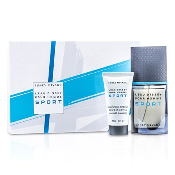 L'Eau d'Issey Pour Homme Sport Coffret: Edt Spray 50ml/1.6oz + All Over Shampoo 50ml/1.6oz + Bag  2pcs+Bag