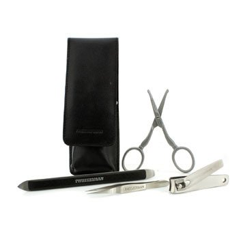 Essential Grooming Kit: Fingernail Clipper + Facial Hair Scissors + Nail Cleaner + Splinter Removal  4pcs