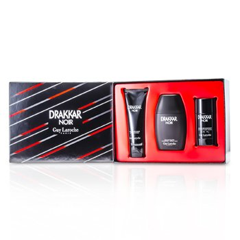 Guy Laroche Drakkar Noir Coffret: Eau De Toilette Spray 100ml/3.4oz + B�lsamo Para Despu�s de Afeitar 100ml/3.4oz + Desodorante en Barra 75g/2.6oz  3pcs
