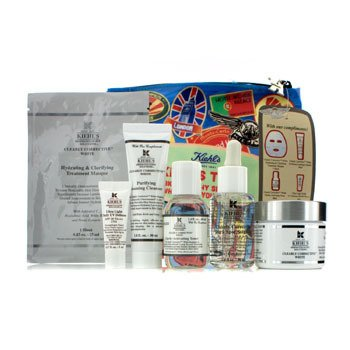 Kiehl's Clearly Corrective White Set: Clarifying Cream + Toner-Penyegar + Cleanser-Pembersih + Masque-Masker + UV Defense SPF 50 + Tas  6pcs+1bag