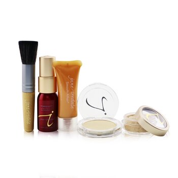 Jane Iredale Starter Kit (6 Pieces): 1xPrimer & Brighter, 1xLoose Mineral Powder, 1xMineral Foundation, ... - # Medium Light  6pcs