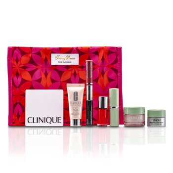 Clinique Travel Set: Moisture Surge + CC Cream + Eye Cream + Makeup Palette + Mascara & Lipgloss + Lipstick #15 + Nail Polish + Tas  7pcs+1bag