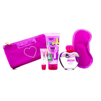 Moschino Pink Bouquet Coffret: Eau De Toilette Spray 100ml/3.4oz + Body Lotion 100ml/3.4oz + Lipgloss 10ml/0.3oz + Sleep Mask  4pcs