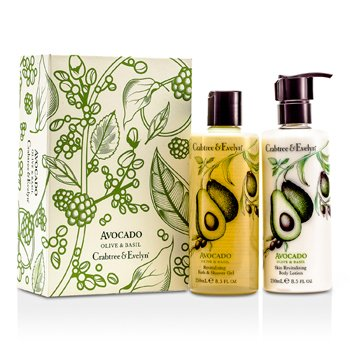 Crabtree & Evelyn Avocado, Olive & Basil Perfect Pair: Bath & Shower Gel 250ml + Body Lotion 250ml  2pcs