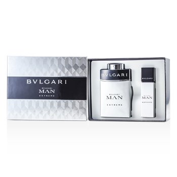 Bvlgari Man Extreme Coffret: Eau De Toilette Spray 100ml/3.4oz + Eau De Toilette Travel Spray 15ml/0.5oz  2pcs