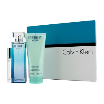 Calvin Klein Eternity Aqua Coffret: Eau De Parfum Spray 100ml/3.4oz + Body Lotion 200ml/6.7oz + Eau De Parfum Rollerball 10ml/0.33oz  3pcs