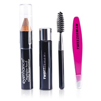 Mini Brow Rescue Kit: Slant Tweezer + Browmousse + Brow Brush + Eyenhance Brow Highlighter (Studio Collection)  4pcs+1case