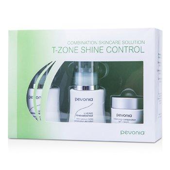Pevonia Botanica Solução Combinação Cuidados Com a Pele - T-Zone Shine Control: Cleanser 50ml/1.7oz + Lotion 50ml/1.7oz + Cream20ml/0.7oz  3pcs