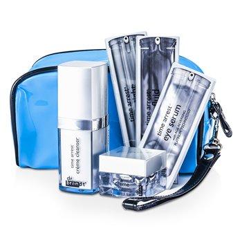 Dr. Brandt Time Arrest Travel Set: Creme Cleanser + Creme + Face Fluid + Laser Tight + Eye Serum + Collagen Booster + Bag  6pcs+1bag