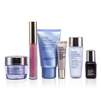 Estee Lauder Travel Set: Makeup Remover 30ml + Micro Essence 30ml + Advanced Time Zone Cream 15ml + ANR II 7ml + Makeup #36 + Lipgloss #09  6pcs