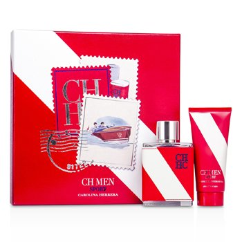 Carolina Herrera CH Sport Kofre: Eau De Toilette Sprey 100ml/3.4oz + After Shave Balsam 100ml/3.4oz  2pcs