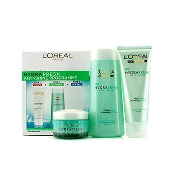 L'Oreal Hydrafresh Anti-Shine Programme: Icy Toner 200ml + Foam 100ml + Icy Gel 50ml  3pcs