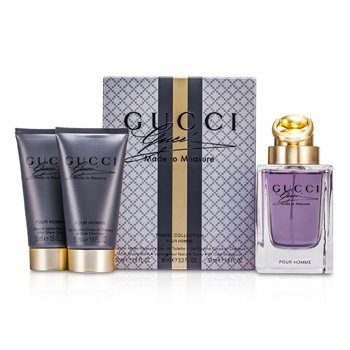 Gucci Made To Measure Travel Collection Coffret: Eau De Toilette Spray 90ml/3oz + After Shave Balm 50ml/1.6oz + All Over Shampoo 50ml/1.6oz  3pcs