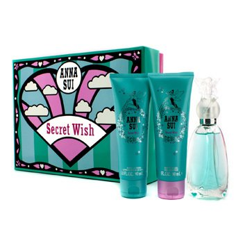 Anna Sui Secret Wish Coffret: Eau De Toilette Spray 50ml/1.7oz + Loción Corporal 90ml/3oz + Gel de Ducha 90ml/3oz  3pcs