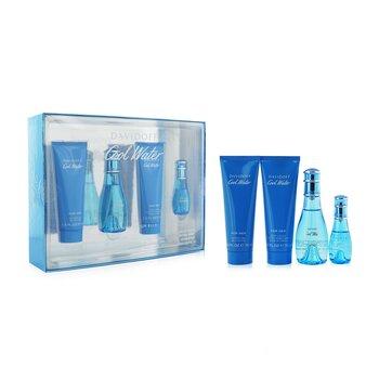 Cool Water Coffret: Eau De Toilette Spray 50ml/1.7oz + Eau De Toilette Spray 15ml/0.5oz + Body Lotion 75ml/2.5oz + Shower Gel 75ml/2.5oz  4pcs