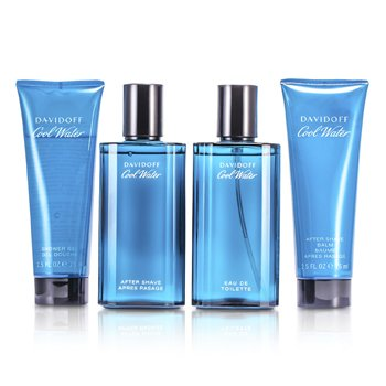 Davidoff Cool Water Coffret: Eau De Toilette Spray 75ml/2.5oz + Despu�s de Afeitar 75ml/2.5oz + B�lsamo Para Despu�s de Afeitar 75ml/2.5oz + Gel de Ducha 75ml/2.5oz  4pcs
