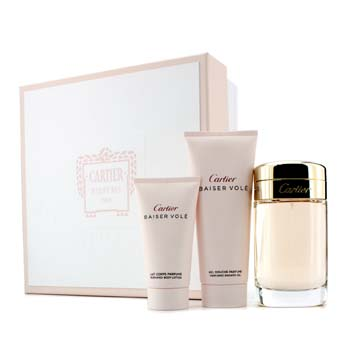 Cartier Baiser Vole Coffret: Eau De Parfum Spray 100ml/3.3oz + Gel de Ducha 100ml/3.3oz + Loción Corporal 50ml/1.6oz  3pcs