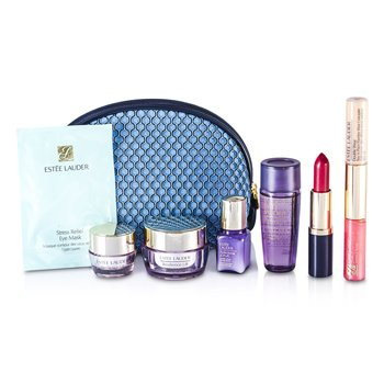 Estee Lauder Travel Set: Optimizer + Neck Creme + Perfectionist [CP+R] + Eye Creme + Eye Mask + Lipstick #55 + Lip Gloss #30 & Concealer #02 + Bag  7pcs+1bag