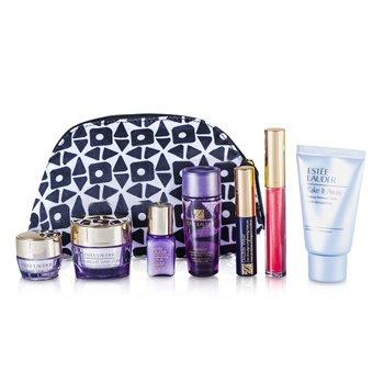 Estee Lauder Set de Viaje: Removedor de Maquillaje 30ml + Optimizador 30ml + Crema de Día 15ml + Suero 7ml + Crema de Ojos 5ml + Máscara #01 + Brillo de Labios #30 + Bolso  7pcs+1bag