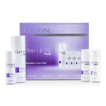 Glytone Step-Up Kit Plus (Para Piel Normal a Grasa): Jabón en Gel 200ml + Loción Facial 60ml + Loción Exfoliante 60ml + Gel Pelador 60ml  4pcs