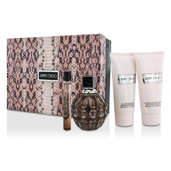 Jimmy Choo Jimmy Choo Coffret: EDP Spray 100ml/3.4oz + Body Lotion 100ml/3.3oz + Shower Gel 100ml/3.3oz + EDP Roll On 10ml/0.33oz  4pcs