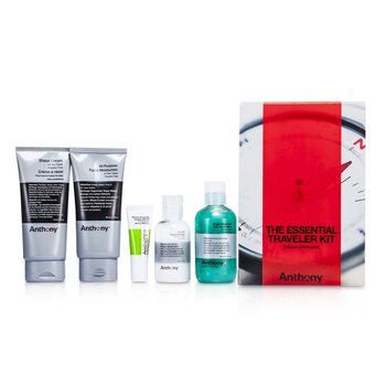 Logistics For Men The Essential Traveler Kit:  Cleanser + Mositurizer + Lip Blam + Shave Cream + Hair & Body Wash  5pcs