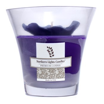 Northern Lights Candles Floral Vase Premium Candle - Purple Pansy  5 inch