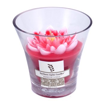 Floral Vase Premium Candle - Red Water Lily  5 inch