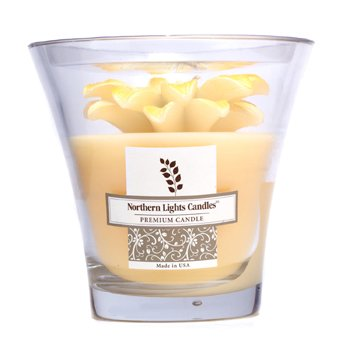 Northern Lights Candles Floral Vase Premium Candle - Yellow Big Daisy  5 inch