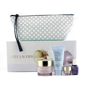 Estee Lauder Your Complete System: Resilience Crema de Cuello & Rostro 50ml + Perfectionist Suero 15ml + Crema de Ojos 5ml + Perfectly Clean 50ml + Bolsa  4pcs+1bag