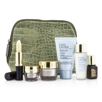 Estee Lauder Set de Viaje: Perfectly Clean 30ml + Micro Essence 30ml + Resilience Lift Crema 15ml + Crema Ojos 5ml + ANR II 7ml + Acondicionador Labios+ Bolsa  6pcs+1bag