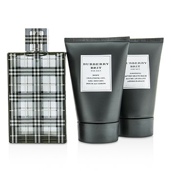 Brit Coffret: Eau De Toilette Spray 100ml/3.3oz + Body Cleansing Gel 100ml/3.3oz + After Shave Balm 100ml/3.3oz (Gold Box)  3pcs