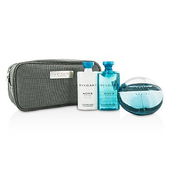 Aqva Pour Homme Marine Coffret: Eau De Toilette Spray 100ml/3.4oz + Shower Gel 75ml/2.5oz + After Shave Balm 75ml/2.5oz + Pouch  3pcs+1pouch