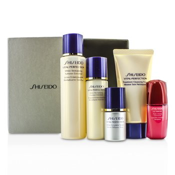 Shiseido Set Vital-Perfection: Espuma Limpiadora 50ml + Suavizante 75ml +  Emulsión 30ml + Ultimune Concentrado 10ml + Suero 10ml  5pcs