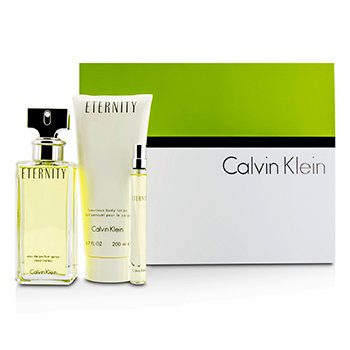 Calvin Klein Eternity Coffret: Eau De Parfum Spray 100ml/3.4oz + Body Lotion 200ml/6.7oz + Eau De Parfum 10ml/0.33oz  3pcs