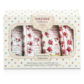 Heathcote & Ivory Vintage Assorted Bathing Collection: 2x Bath & Shower Gel 50ml/1.69oz + 2x Body Cream 50ml/1.69oz  4pcs